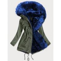 Dámska zimná bunda parka khaki-modrá (D-216#)