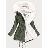 Dámska zimná bunda parka khaki-biela (D-216#)