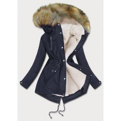 Dámska zimná bunda parka tmavomodrá (1998A)
