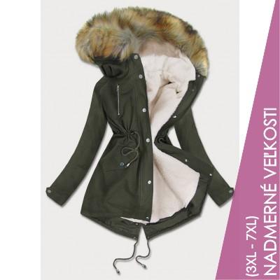Dámska zimná bunda parka khaki (1998A)