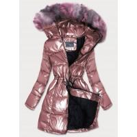 Dámska zimná bunda ružová (B9528)