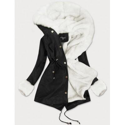 Dámska zimná bunda s kožušinou čierna (B523)