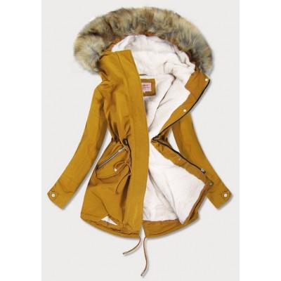 Dámska zimná bunda parka žltá (W379)