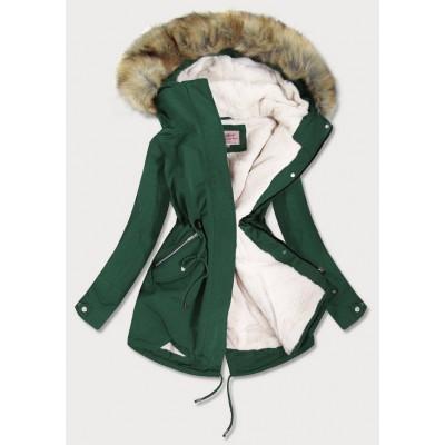Dámska zimná bunda parka zelená (W379)