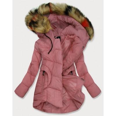 Dámska prešívaná zimná bunda ružová (209-1)