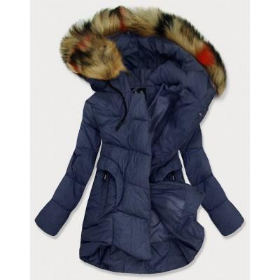 Dámska prešívaná zimná bunda tmavomodra (209-1)