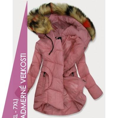 Dámska prešívaná zimná bunda ružová (209-2BIG)