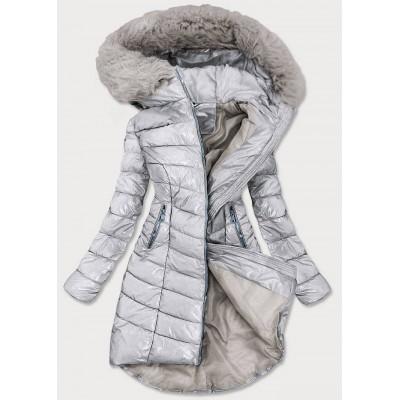 Dámska asymetrická zimná bunda strieborná (F7052)
