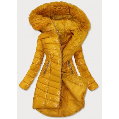 Dámska asymetrická zimná bunda žltá (F7052)