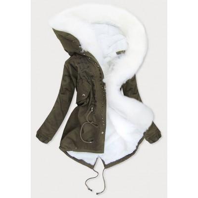 Dámska zimná bunda khaki-biela (613)