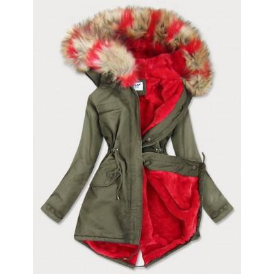 Dámska zimná bunda parka khaki-červená (X619X)