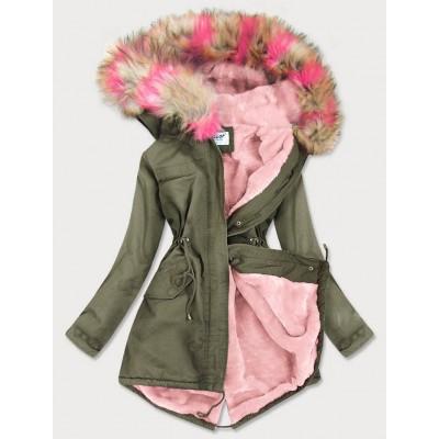 Dámska zimná bunda parka khaki-ružova (X619X)