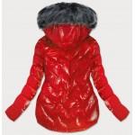 Prešívaná dámska zimná bunda červená (B9540)