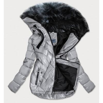 Prešívaná dámska zimná bunda strieborná (B9540)