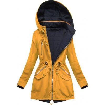 Dámska obojstranná jarná bunda čierno-žltá  (W302)