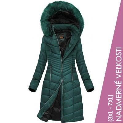 Prešívaná dámska zimná bunda zelená  (7762BIG)