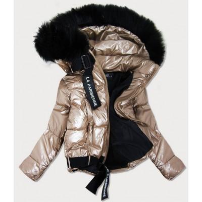 Dámska lesklá bunda s kapucňou zlatá  (8297)