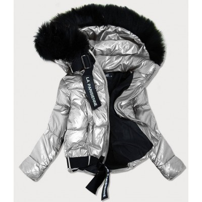 Dámska lesklá bunda s kapucňou strieborná (8297)