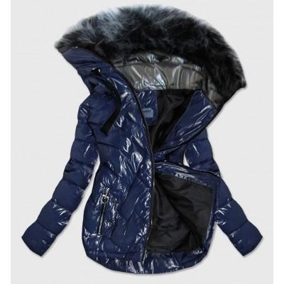 Prešívaná dámska zimná bunda tmavomodrá (B9540)