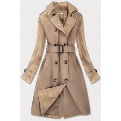 Tenký dámsky kabát z kombinovaných materiálov béžový (YR2027)