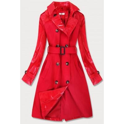 Tenký dámsky kabát z kombinovaných materiálov červený (YR2027)