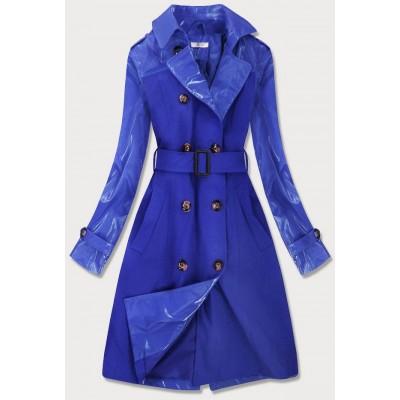 Tenký dámsky kabát z kombinovaných materiálov modrý (YR2027)