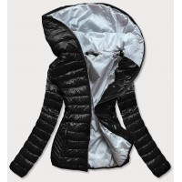 Prešívaná dámska jarná bunda s kapucňou čierna (B9561)