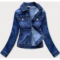 Dámska jeansová bunda s golierom  modrá  (5692-K)