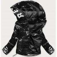 Lesklá dámska prešívaná jarná bunda s kapucňou čierna (B9568)