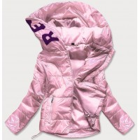 Lesklá dámska prešívaná jarná bunda s kapucňou ružová (B9568)