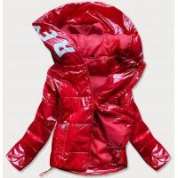 Lesklá dámska prešívaná jarná bunda s kapucňou červená (B9568)