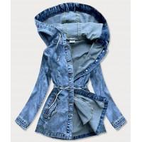 Dlhá dámska jeansová bunda modrá  (5806-K)