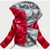 Dámska lesklá prešívaná jarná bunda červená (B9560)