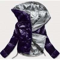 Dámska lesklá prešívaná jarná bunda tmavomodrá (B9560)