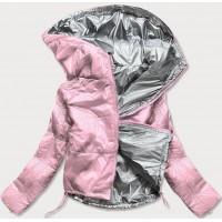 Dámska lesklá prešívaná jarná bunda ružová (B9560)