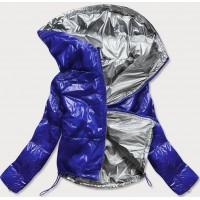 Dámska lesklá prešívaná jarná bunda modrá  (B9560)