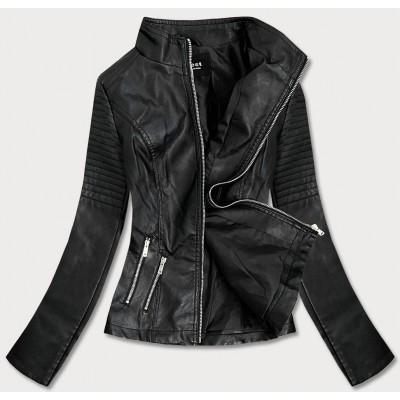 Dámska koženkovaá bunda čierna (B0116)