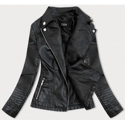 Dámska koženkovaá bunda čierna  (B0113)