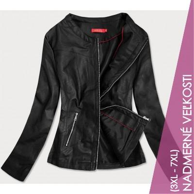 Dámska koženková bunda čierna (TD8130)