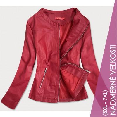 Dámska koženková bunda červená  (TD8130)
