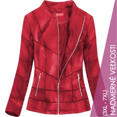 Dámska koženková bunda červená (TD1016-1)