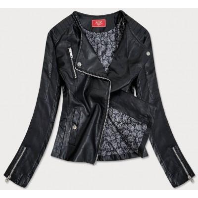 Prešívaná dámska bunda z eko-kože čierna (Q-059)