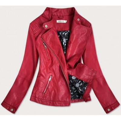 Dámska koženková bunda červená  (TD135)