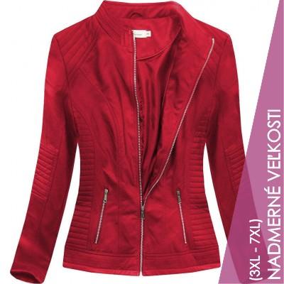 Dámska koženková bunda červená (TD1136)