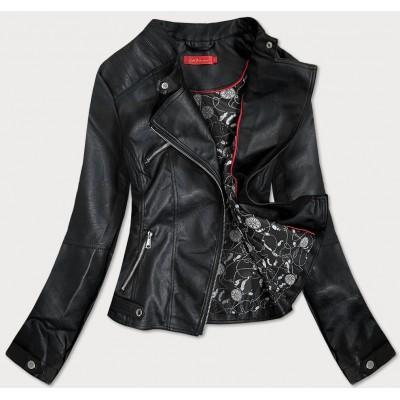 Dámska koženková bunda čierna  (V691)