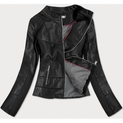 Dámska koženková bunda čierna  (TD-101)
