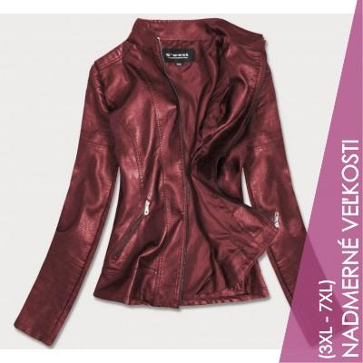 Dámska koženková bunda bordova (B0115)