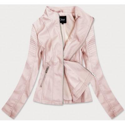 Dámska koženková bunda ružová (B0111)
