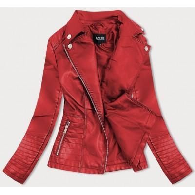 Dámska koženkovaá bunda červená (B0113)