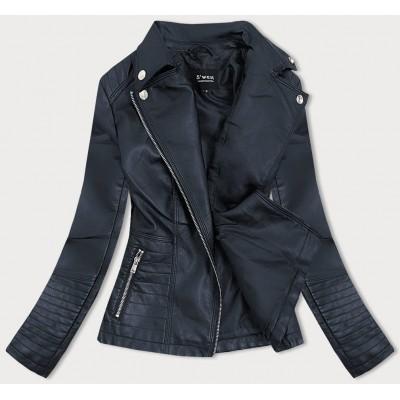 Dámska koženkovaá bunda modrá (B0113)